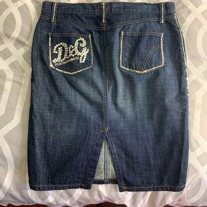 Dolce Gabbana denim pencil skirt sequence.